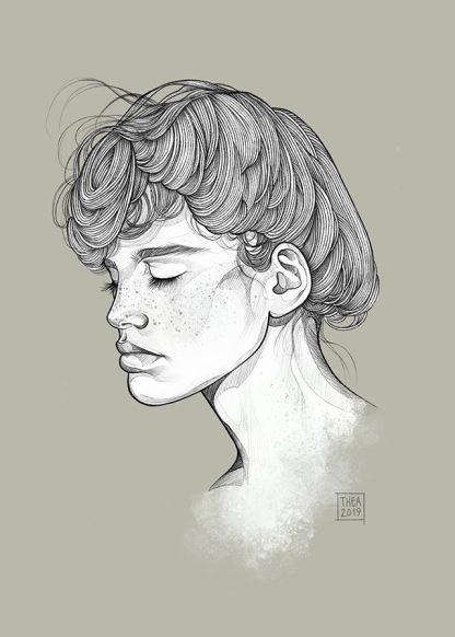 Jenta illustrasjon av Thea Nordal